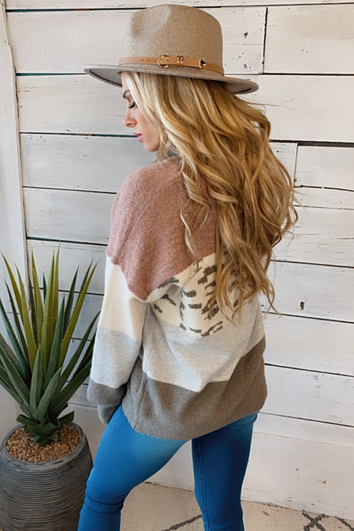 Speak With Love Leopard Color Block Sweater : Grey/Mauve