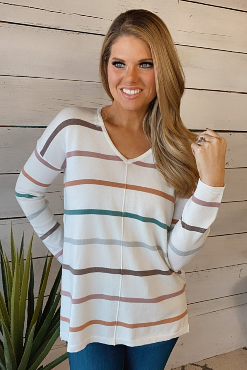 Real Love V-Neck Striped Sweater : Mocha/Olive/Multi