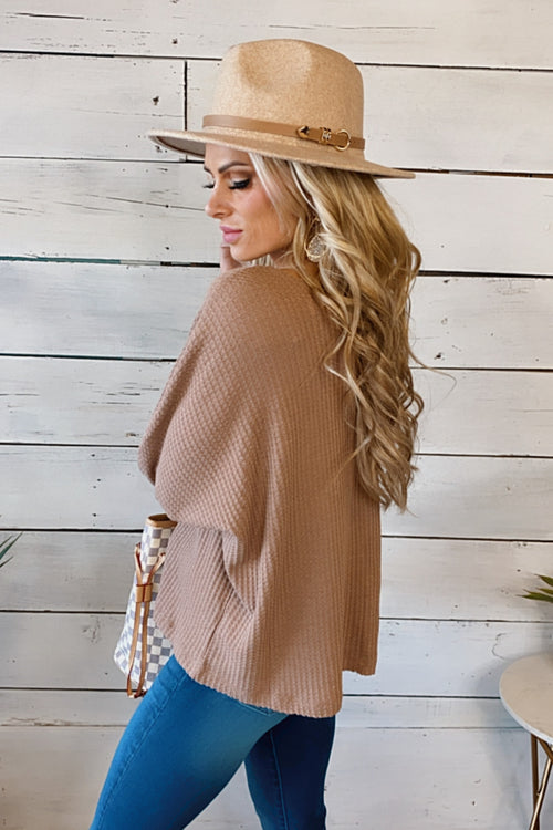 Just Be You Waffle Knit V-Neck Top : Dusty Mauve Mocha