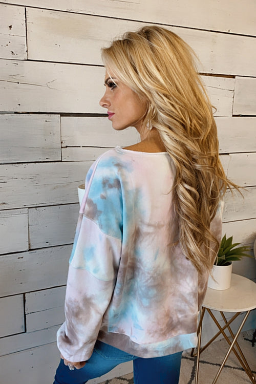 Forever Faithful Tie Dye Cinched Bottom Pullover : Pink/Blue/Brown