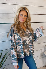 What A Dream Camo Long Sleeve Top : Mauve/Charcoal