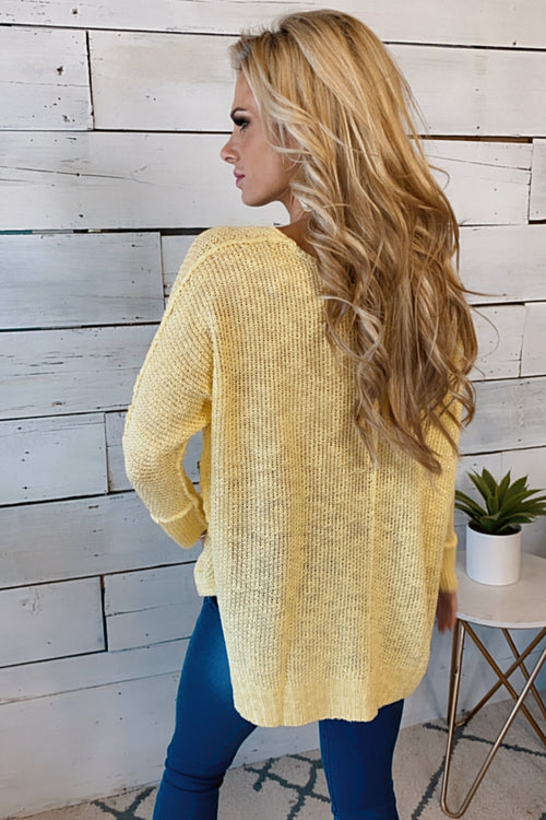 Loving You So Knit V-Neck Sweater : Yellow