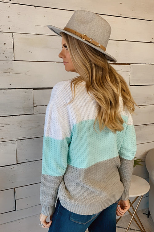 Perfect Opportunity Color Block Knit Sweater : Mint/Multi