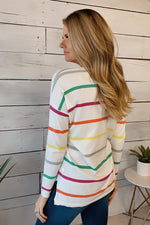Real Love V-Neck Striped Sweater : Green/Yellow/Multi
