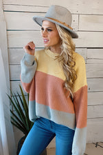 Impress Me Color Block Knit Sweater : Coral/Multi