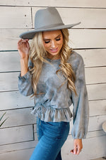 Needed You Elastic Waist Tie Dye Top : Grey