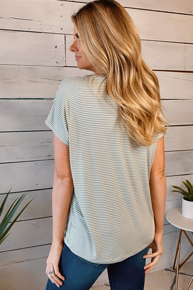 Better With You Short Sleeve Striped Top : Ivory/Olive
