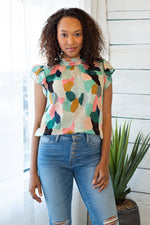 Watercolor Dreams Flutter Top : Mint/Multi