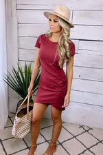 Happy With You Short Sleeve Ruched Dress : Berry
