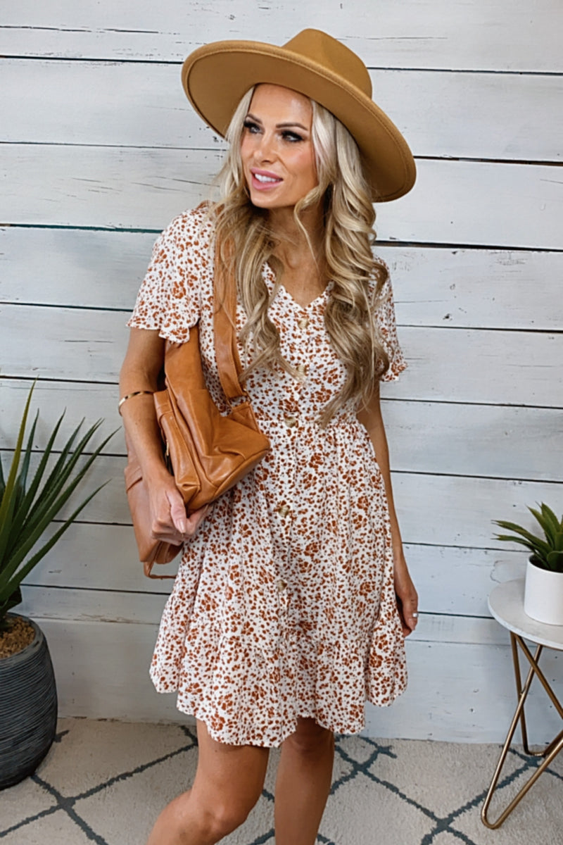 Already Gone Floral Button Babydoll Dress : White/Rust