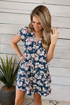 First Comes Love Floral V-Neck Dress : Navy Blue