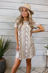 Fresh Take Short Sleeve Snake Print Dress : Tans