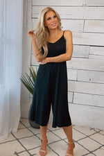 Change Of Heart Cropped Palazzo Wide Leg Jumpsuit : Black
