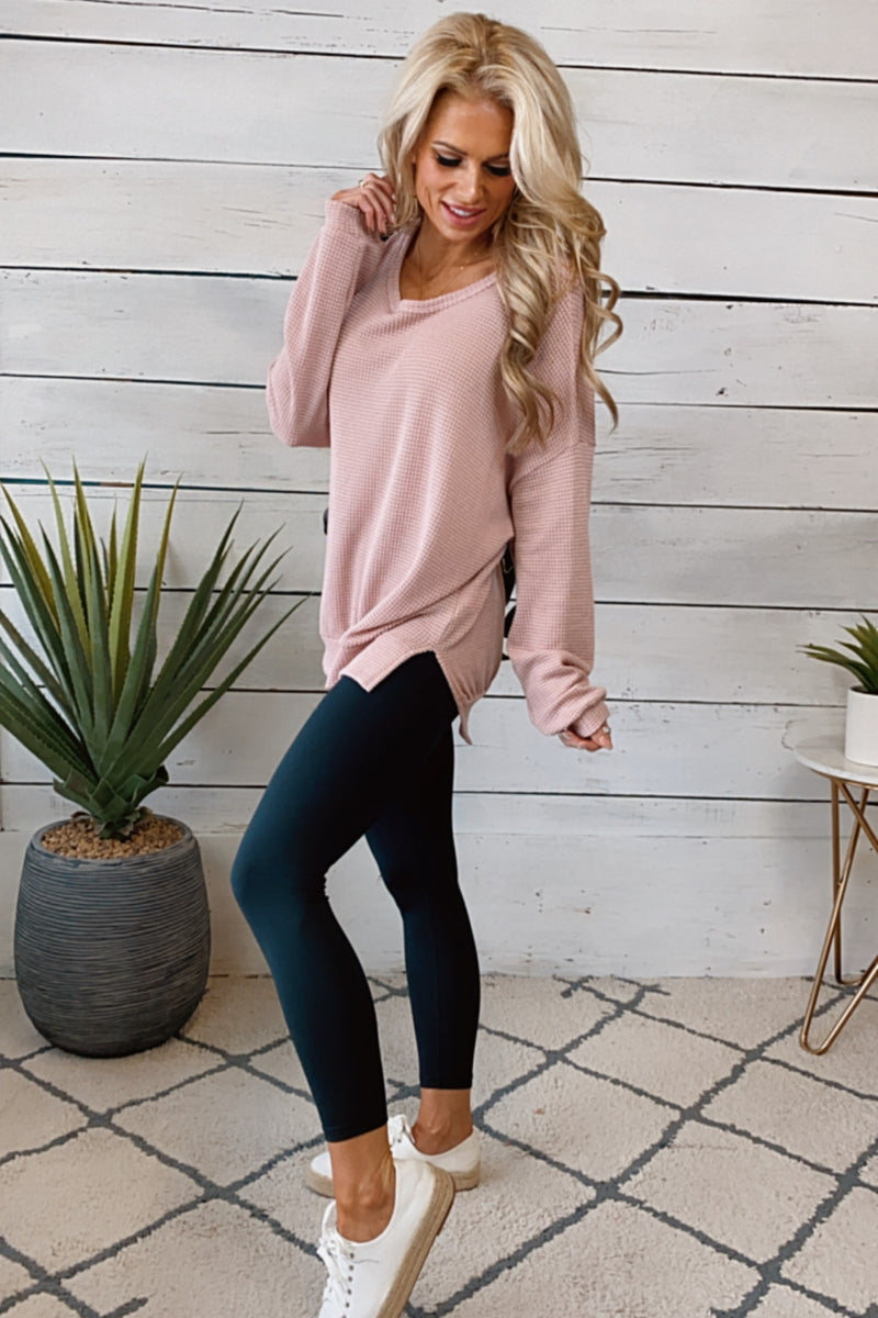 Graceful Moments Waffle Knit Pullover : Dusty Pink