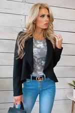 Here's Your Sign Ruffle Blazer : Black