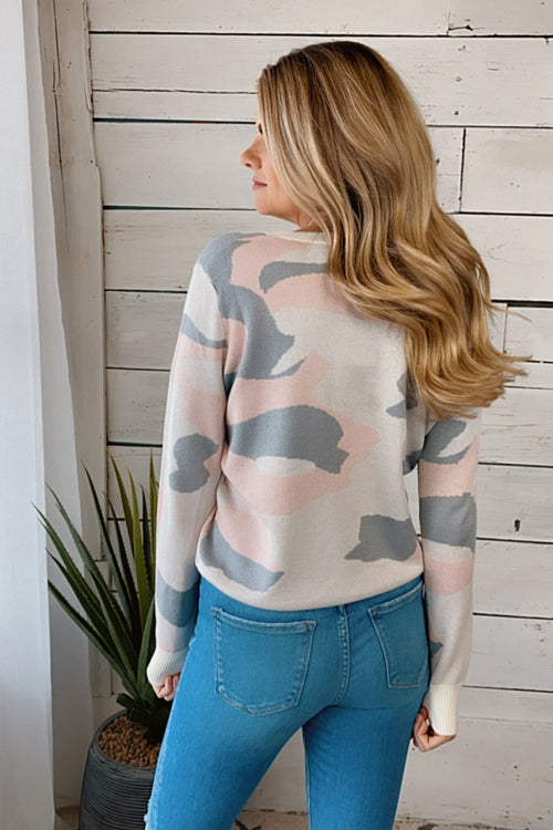 Sweet Talker Camo Knit Sweater : Baby Pink/Ivory/Grey