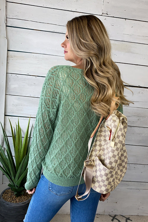 Getting Attached Knit V-Neck Top : Green