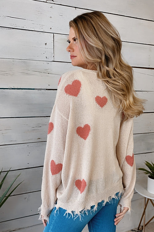 Love Blooms Frayed Heart Sweater : Cream/Mauve
