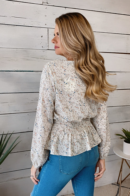 A True Lady Smocked Waist Floral Print Blouse : Off White
