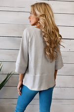 Dreaming Of You Knit 3/4 Sleeve Top : Silver Grey