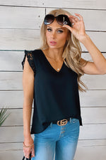 She's The One Lace Trim Tank : Black