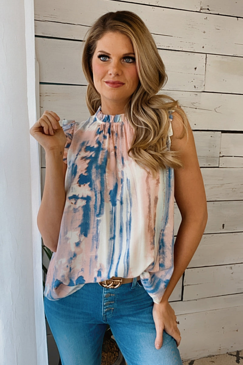 Moving Forward Ruffle Hem Sleeveless Blouse : Peach/Blue