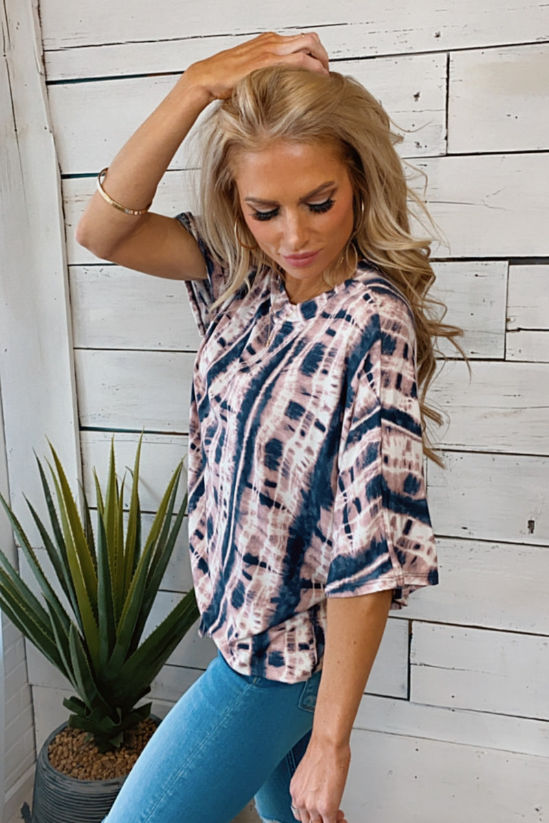 Soothe My Soul Tie Dye Short Sleeve Top : Blush/Charcoal