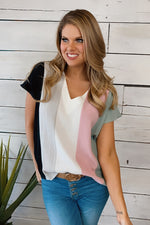Always Find Me Color Block Top : White/Multi