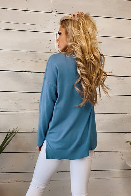 Just As Sweet V-Neck Sweater : Steel Blue