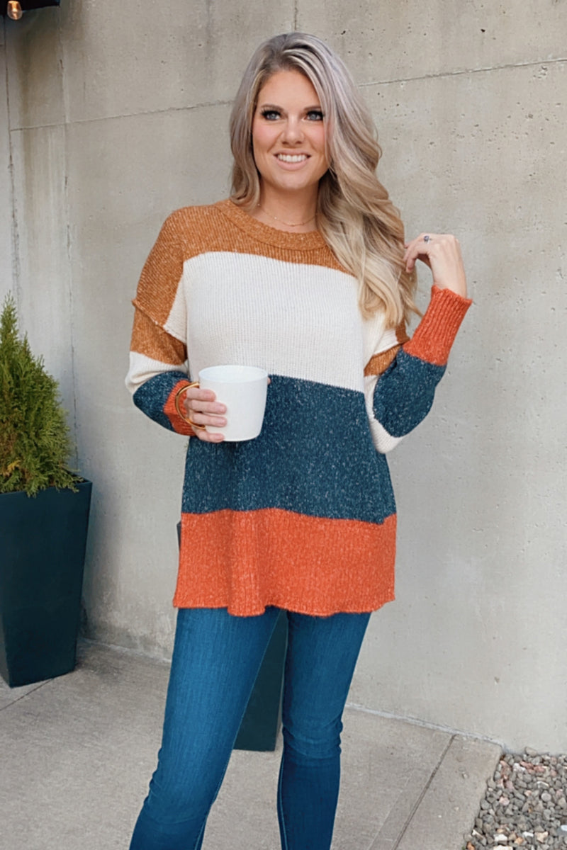 Living The Good Life Color Block Sweater : Multi