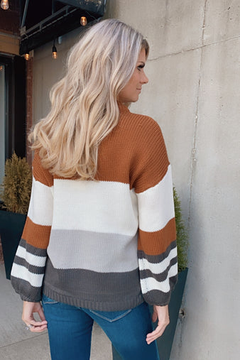 Endless Autumn Color Block Sweater : Caramel/Multi