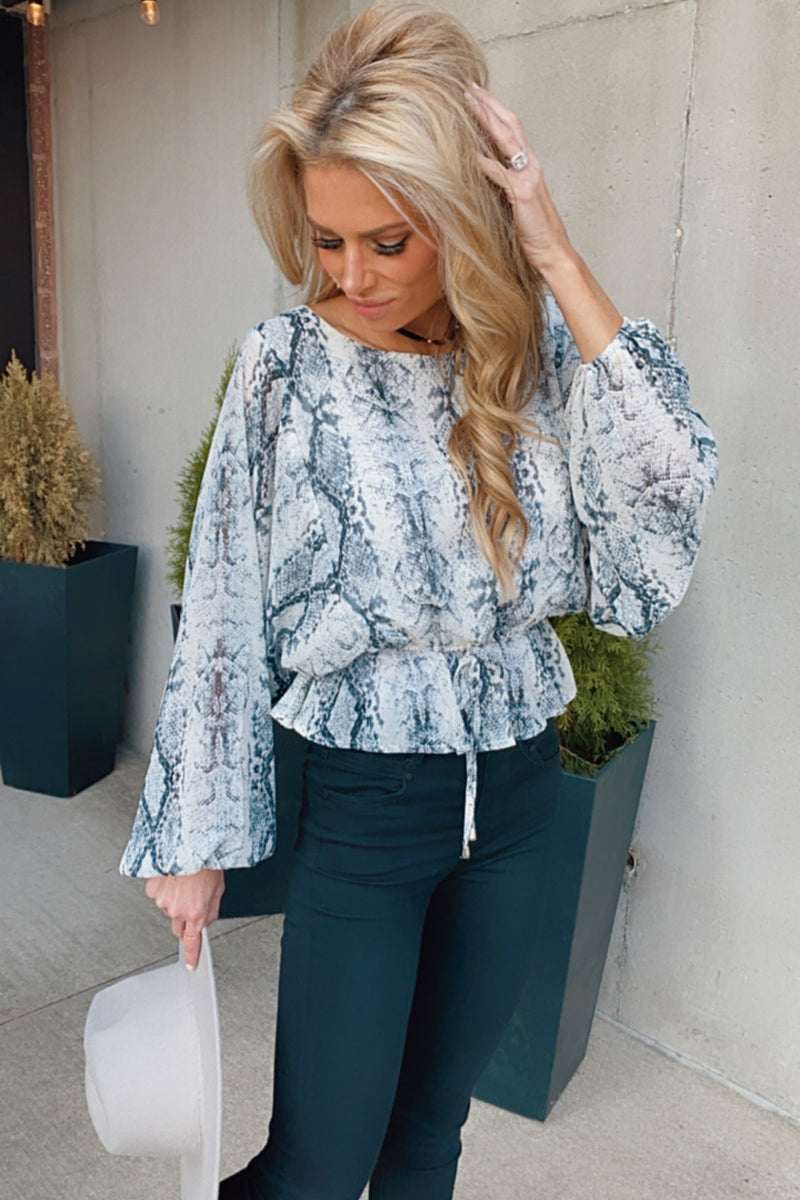 Be On Your Way Cinched Waist Dolman Sleeve Blouse : G. Snake