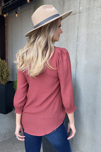 Hold My Heart Smocked Cuff V-Neck Blouse : Rust