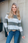 Follow Your Heart Color Block Pullover : Olive