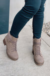 Very G Olivia Sherpa Fleece Zip Bootie : Taupe