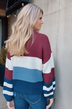 Look Within Yourself Color Block Sweater : Wine