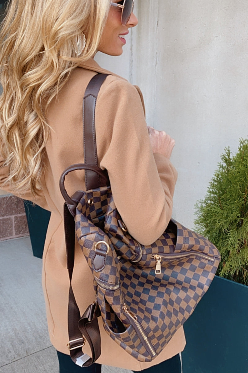 Timeless Style Plaid Zip Up Backpack & Wristlet : Brown
