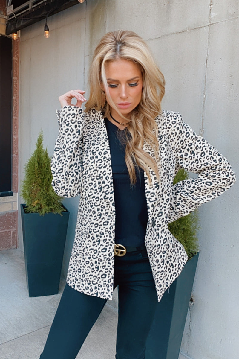 Always Perfect Leopard Blazer : Oatmeal