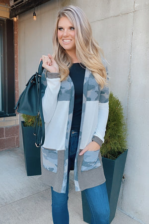 Perfect Time For Love Camo Color Block Cardigan : Olive