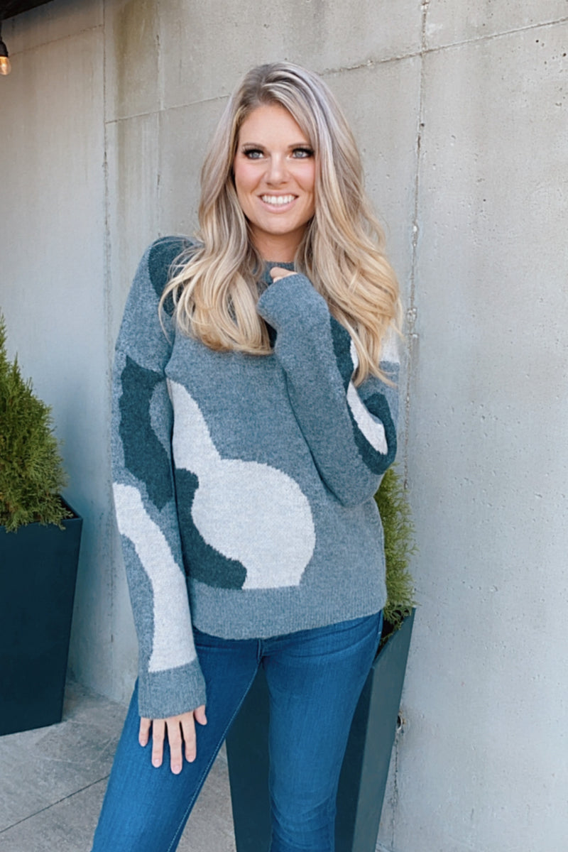 We Can Go The Distance Camo Sweater : Grey