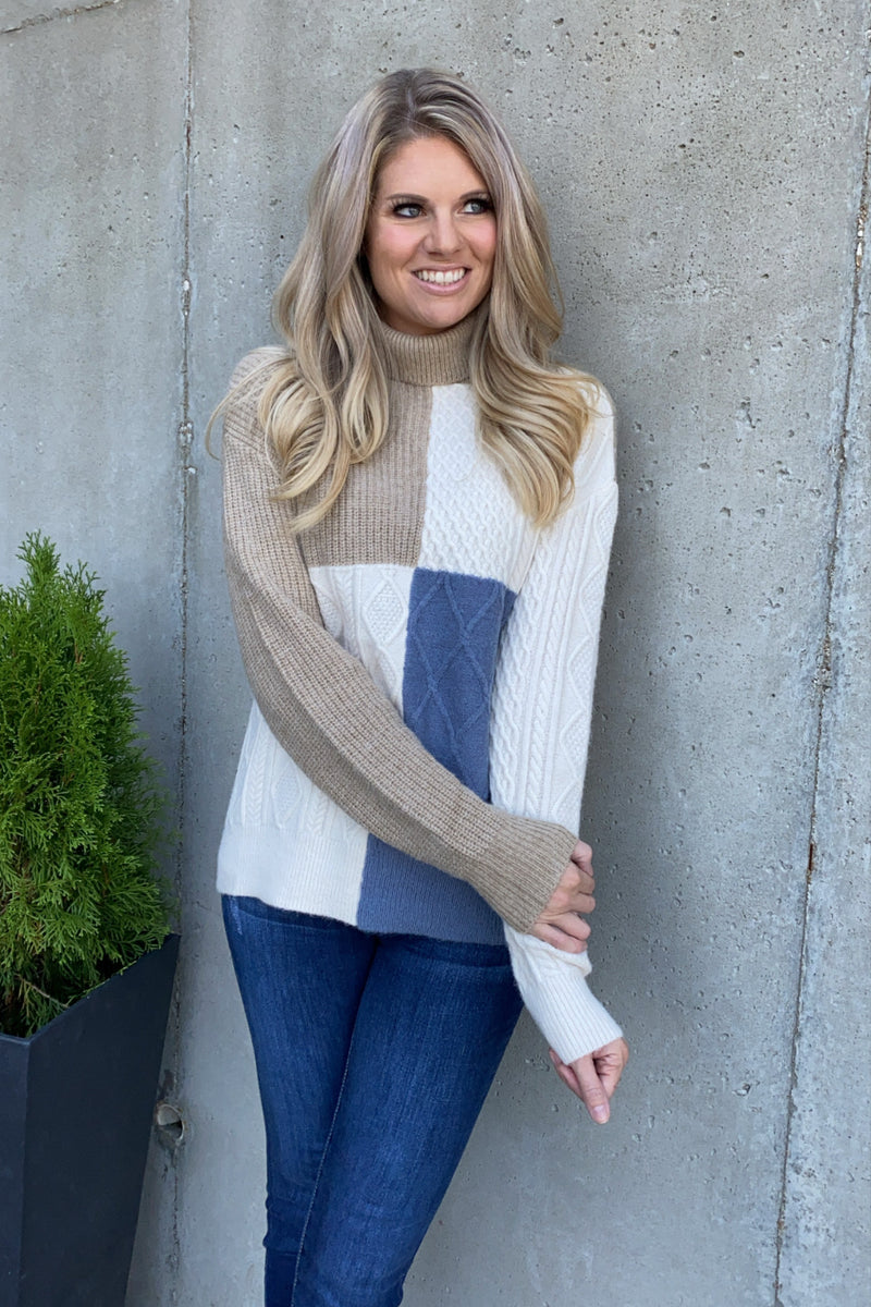 On My Own Path Turtle Neck Sweater : Taupe/Cream