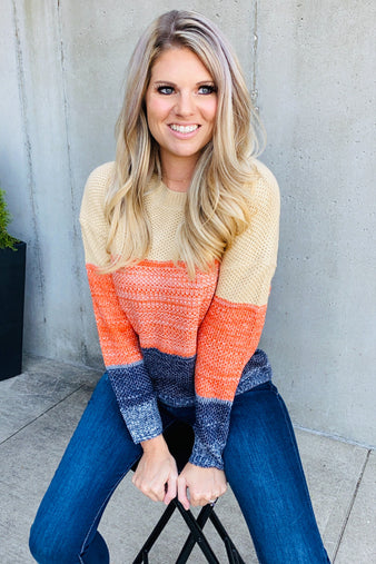 Day Dreamer Color Block Sweater : Orange/Navy