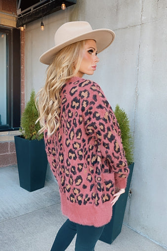 Delight My Heart Leopard Print Cardigan : Rose