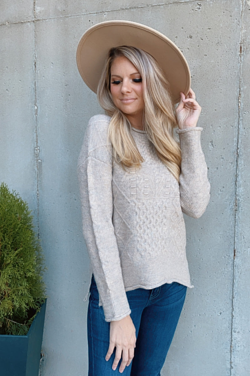 Need You By My Side Rolled Hem Sweater : Taupe