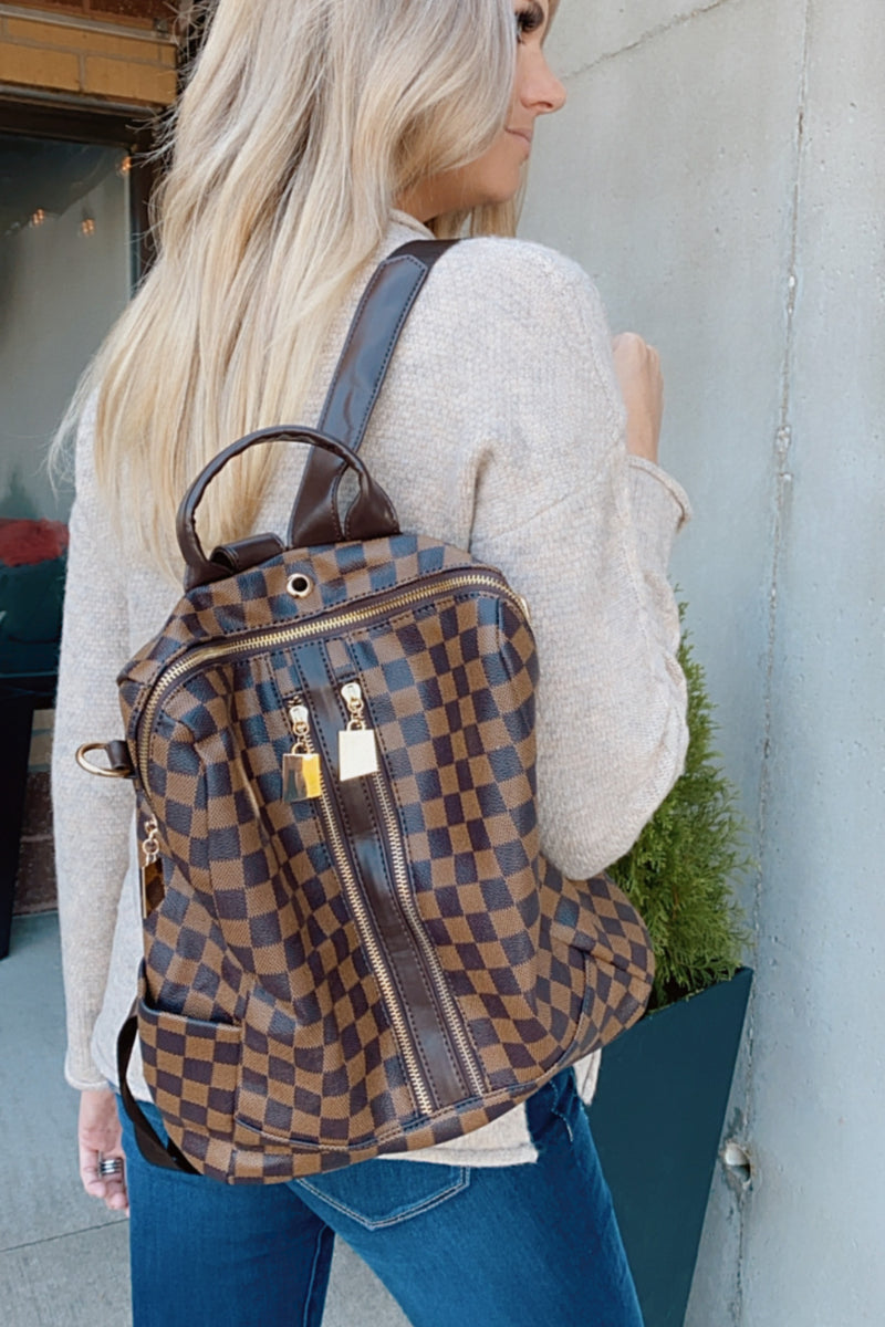 Ready To Go Double Zip Up Plaid Backpack & Wristlet : Brown