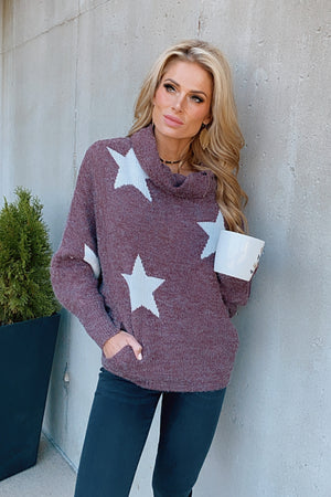 Shooting Stars Cowl Neck Sweater : Burgundy