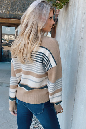 Happiest With You Striped Sweater : Mocha