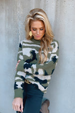 Smooth Talking Camo Knit Sweater : Olive