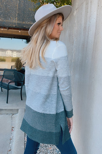 By The Firelight Color Block Cardigan : H. Grey/Charcoal