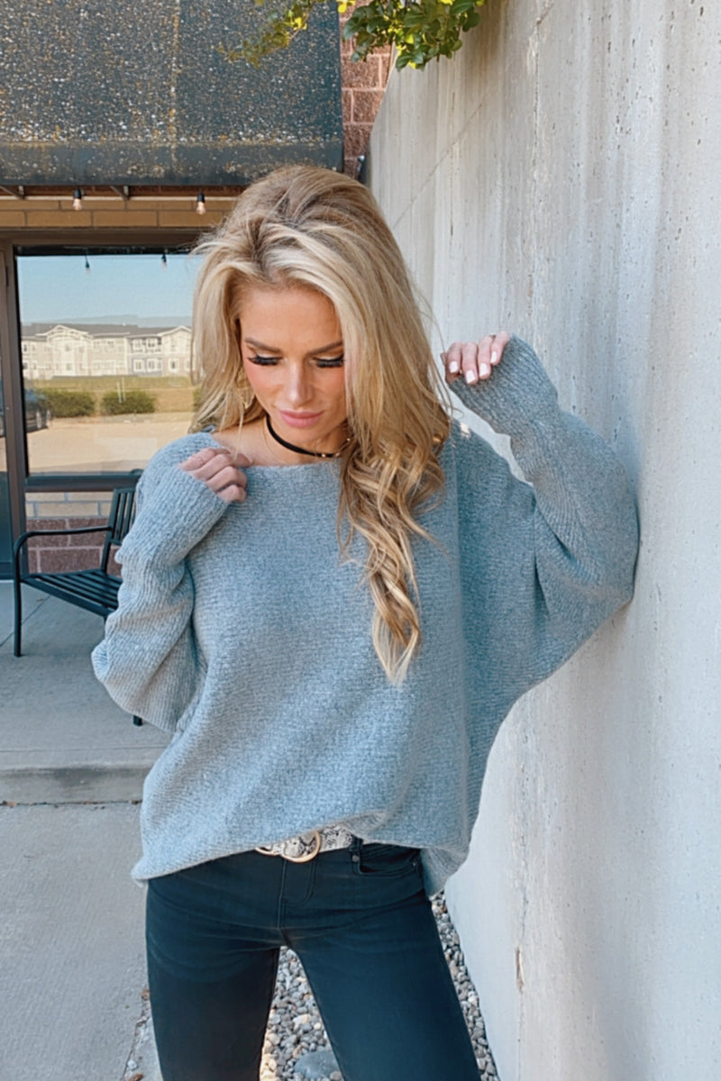 More Than Words OTS Ribbed Sweater : Grey